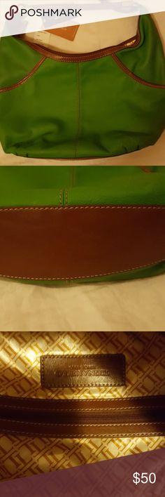 Tignanello Pebble Leather Hobo Tignanello Leather Purse.  Leaf green with brown trim. New Tignanello Bags Hobos