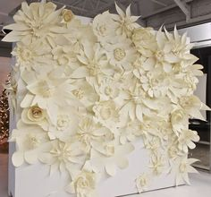 wedding backdrop - Huge white paper flowers pinned on the trees in an arch to form centered back drop Dream wedding!,I LOVE WEDDINGS,Wedding,Wedding White Paper Flowers, Paper Flower Wall, Paper Flower Backdrop, Diy Flowers, Floral Backdrop, Backdrop Wedding, Teal Flowers, Diy Backdrop, Giant Flowers