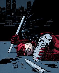 The Punisher vs Daredevil - No good deed goes unpunished. Art by David M. Daredevil Artwork, Daredevil Punisher, Deadpool Wolverine, Comic Book Characters, Marvel Characters, Comic Books, Comic Sans, Stan Lee, Comics