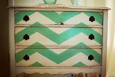 Chevron Dresser Makeover :: Learn how to make your dresser makeover a success too! :: FineCraftGuild.com
