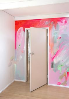 Daughter — Camille Javal Vibrant abstract mural in pink, red and pastel colours. A silver metallic curtain peeks out from the doorway. Bedroom Murals, Wall Murals, Wall Art, Vinil Wallpaper, Creative Jobs, Room Decor, Wall Decor, My New Room, Cheap Home Decor