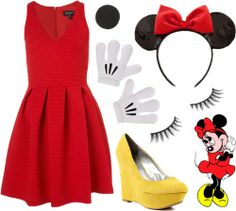 When I was little, I dressed up for Minnie Mouse one Halloween/Birthday. For my birthday party we all went trick-or-treating and it rained . Easy Disney Costumes, Cute Costumes, Costume Ideas, Woman Costumes, Adult Costumes, Minnie Mouse Kostüm, Work Appropriate Costumes, Fantasia Disney, Look 2015