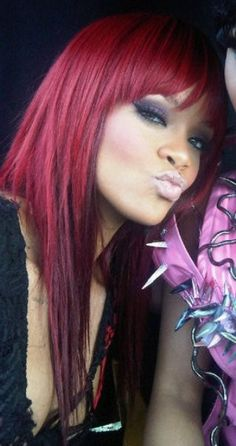 rihanna red ombre hairstyle