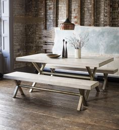 Chevron Dining Table and Bench - Atkin & Thyme - http://www.atkinandthyme.co.uk/furniture/dining-tables.html