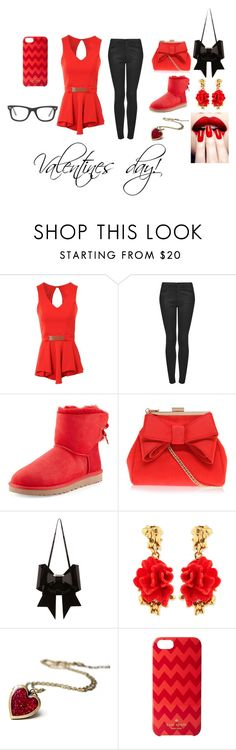 """""""Valentines day"""" by nosaj14 ❤ liked on Polyvore featuring Jane Norman, Topshop, UGG Australia, Miss KG, MM6 Maison Margiela, Oscar de la Renta, Kate Spade and Ray-Ban"""