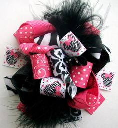 Hair bows-Disney Funky Loopy Fabulously Fun Damask Minnie Mouse Boutique Hair Bow-Funky Fun-Over The Top Deluxe Minnie Mouse Hair Bow