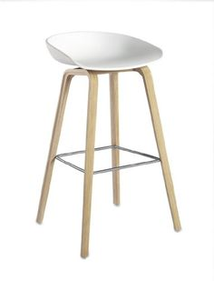 About A Stool AAS 32 Bar Stool   H 75 Cm   Plastic U0026 Wood Legs White U0026  Natural Wood Base By Hay   Design Furniture And Decoration With Made In  Design