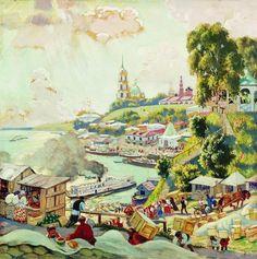Sur la Volga, 1910 de Boris Mikhaylovich Kustodiev (1878-1927, Russia)