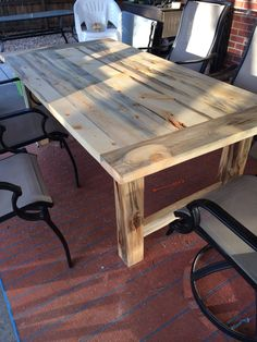 Finished with Danish Oil and wax. Diy Dining Room Table, Patio Tables, Kitchen Tables, Wooden Bookcase, Live Edge Table, Wooden Tables, Farmhouse Table, Rustic Furniture, Architecture
