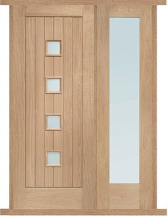Suffolk Exterior Flush Oak Door and Frame Set with One Side Screen