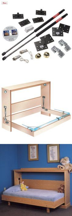 Fold Down Bed Mechanism - Side Mount Twin, Perfect for small rooms and apartments! Make your own folding bed using our hardware. Hardware includes plan for making basic box construction Folding Furniture, Smart Furniture, Space Saving Furniture, Furniture Projects, Home Projects, Furniture Design, Folding Beds, Ikea Furniture, Small Rooms