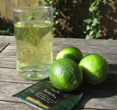 Green Tea Lime Cooler. 1 green tea bag, juice from 1/2 lime, and 1/2 to 1 tsp agave nectar.