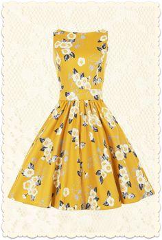 Robe rétro vintage 50s pin-up Tea Yellow Floral jaune doré