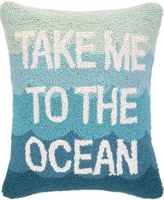 Take Me to the Ocean Hook Pillow: Beach House Decor, Coastal Decor, Nautical Decor, Coastal Living Boutique, Tropical Decor