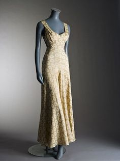 A rare and early Alix - (Madame Grès) couture gold and ivory silk damask evening gown, Winter, 1935