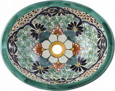 val paraiso talavera ceramic oval drop in bathroom sink spanish style
