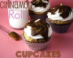 Cinnamon Roll Cupcakes with cream cheese icing and cinnamon glaze. by Kaylee Kopke