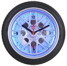 mapleu0027s 18inch tire wall clock blue led httpwww