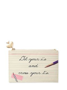 dot your i's and cross your t's pencil pouch set, white, large