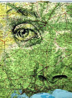 face drawn onto map  - ed fairburn