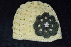 Crochet Light Yellow Baby Beenie with olive green by ESCreations14, $18.00