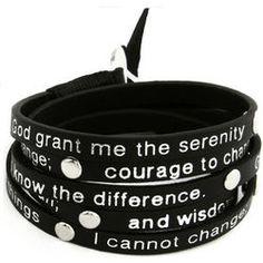 Leather Serenity Prayer Wrap Bracelet