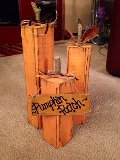 Wood Pumpkins / Fall Decor Set of 3 by PalletsandPaint on Etsy Stains, Dark Spots