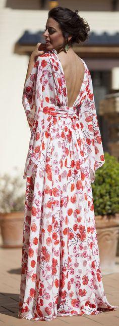 Silvia Navarro Poppy Print Cocktail New Collection Maxi Dress by 1sillaparamibolso