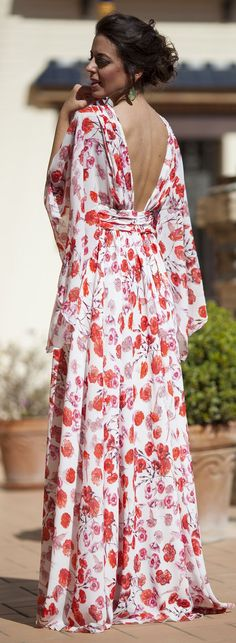 Silvia Navarro Poppy Print Cocktail New Collection Maxi Dress by 1sillaparamibolso