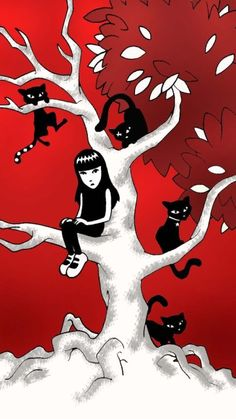 Emily Strange & her black cats Crazy Cat Lady, Crazy Cats, Emily The Strange, Strange Art, Black Cat Art, Black Cats, Goth Art, Cellphone Wallpaper, I Love Cats
