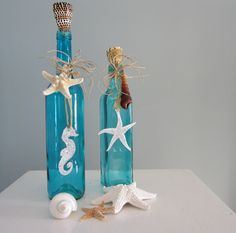 Beach Decor Decorative Bottles in Turquoise by beachgrasscottage