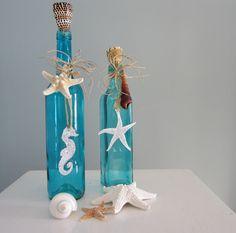 Beach Decor Decorative Bottles in Turquoise by beachgrasscottage