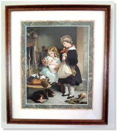 Children's,Antique,Prints- Edwin Landseer Children & Rabbits  Date 1890  Framed #Vintage125yearsold