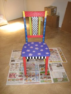 I might have to repaint my author's chair Plywood Furniture, Funky Furniture, Recycled Furniture, Colorful Furniture, Furniture Design, Whimsical Painted Furniture, Painted Chairs, Hand Painted Furniture, Painted Dressers