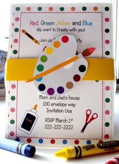 Throw A Lovely Art Party is part of children Party Invitations - Create a super fun and creative party for your kids, an Art Party! We have rounded up tips, Ideas and Inspiration to Throw a Lovely Art Party for Your Kids Art Party Invitations, Birthday Invitations, Invitation Ideas, Invitation Wording, Invitation Design, Party Favors, Kunst Party, Art Themed Party, Artist Birthday
