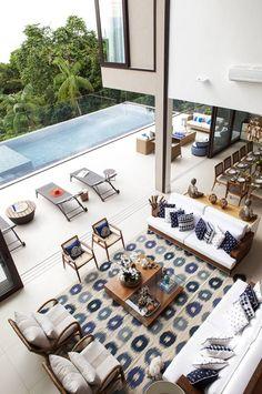 Integração Área Interna e Externa : Salas de estar modernas por Infinity Spaces