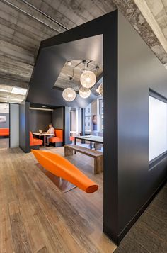 Looks a little bit like a log cabin...in a good way. M Moser Associates San Francisco Offices #officespace #tenantrep
