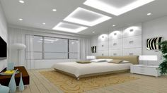 Cool Modern Bedroom With Recessed Ceiling Neon Lighting