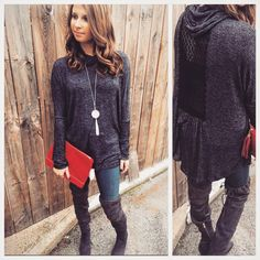 New Mystree turtle neck with crochet lace back detail. Paired with silver disc necklace from Douglas Paquette, faux suede clutch and blanknyc jeans