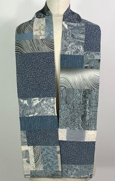 Grey Gardens, Japanese Kimono, Tie Dyed, Vintage Japanese, Hand Stitching, Blue Grey, Scarves, Ann, Silk