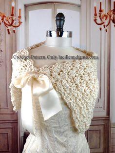 Easy Crochet Pattern Summer Bridal Shawl Wedding By LucilleandIrma