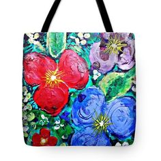 Finger Painted Flowers Tote Bag  http://fineartamerica.com/products/finger-painted-flowers-sarah-loft..  #totebafs #sarahloft #stilllife #flowers #painting