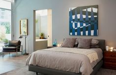 Modern Bedroom Featuring Juxtapose Ii By Salvador Luca Http Www Gallerydirect