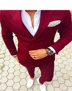 Red Double Breasted Mens Suits With Pants New Costume Homme Slim Fit Wedding Groom Casual Business Terno Masculino(Jacket+Pants) Mens Fashion Blazer, Suit Fashion, Runway Fashion, Gentleman Fashion, True Gentleman, Fashion Sale, Gentleman Style, Fashion Trends, Fashion Outlet