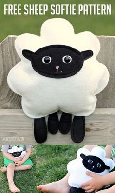 Sew up a stuffed animal for baby with this free sheep softie pattern! This simple stuffed animal sewing pattern would be great for kids to sew themselves, and is the perfect huggable size.