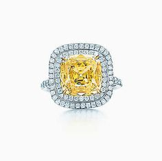 Square Fancy Intense Yellow diamond ring in platinum with white diamonds.- Tiffany and Co. Tiffany & Co., Tiffany Rings, Square Diamond Rings, Yellow Diamond Rings, Yellow Engagement Rings, Mellow Yellow, Jewelry Trends, Beautiful Rings, Diamond Jewelry