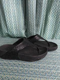 04c842404d22c6 PRE-OWNED women s FIT FLOP black sequin flip flop sandals - SIZE 6  fashion   clothing  shoes  accessories  womensshoes  sandals (ebay link)