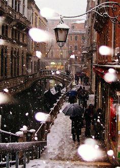 Snowy Night, Venice,Italy