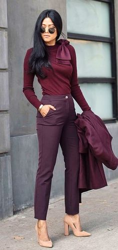#winter #outfits  maroon pants
