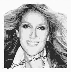 Grille point de croix Céline Dion : Broderie par les-fantaisie-s-de-sandrine